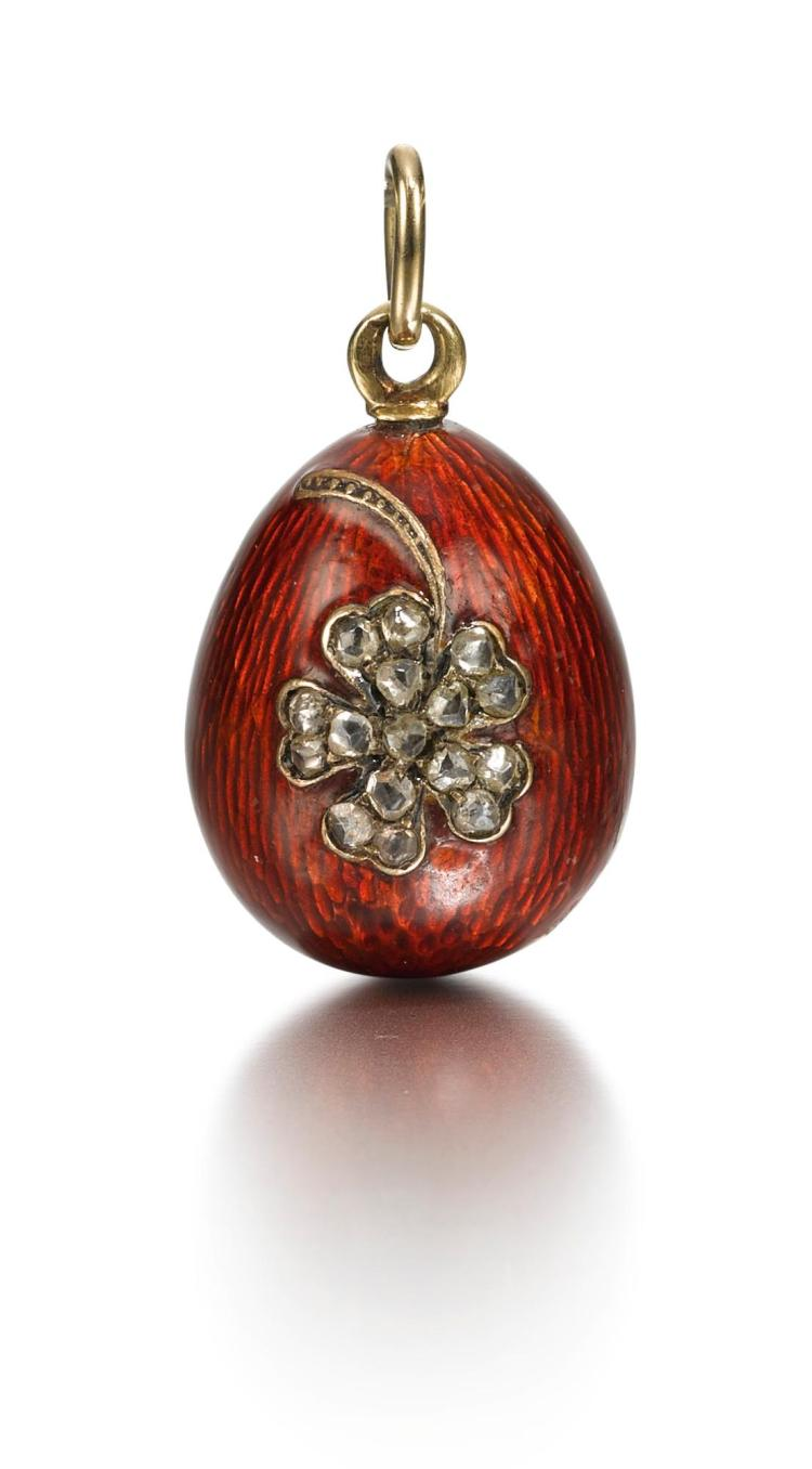 A JEWELLED ENAMEL EGG PENDANT, CIRCA 1895 |