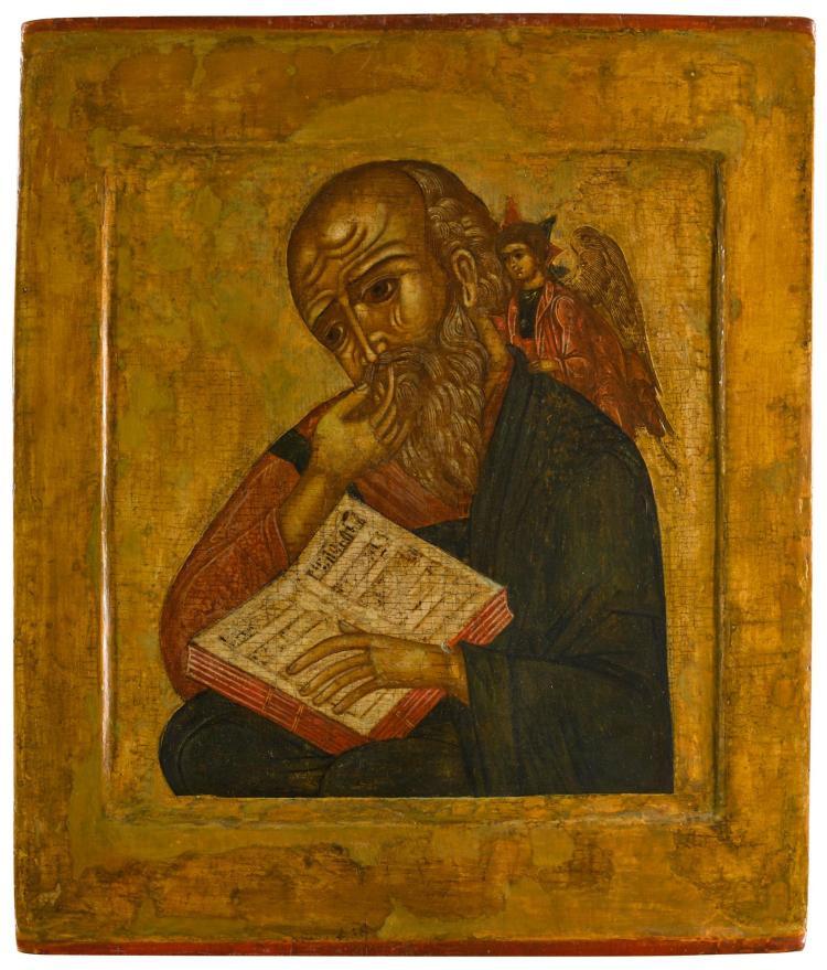 SAINT JOHN THE THEOLOGIAN 'IN SILENCE', RUSSIAN, CIRCA 1700   Saint John the Evangelist