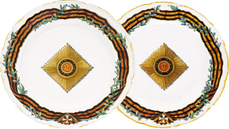 TWO PORCELAIN PLATES FROM THE ORDER OF ST GEORGE SERVICE, GARDNER PORCELAIN FACTORY, VERBILKI, 1777-1778 |