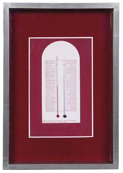 Marcel Mariën 1920-1993 , PORTRAIT DE L'ARTISTE TOUT CRACHÉ thermomètre et collage sur panneau