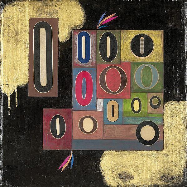 E. L. T. Mesens 1903-1971 , AVANT LE POINT-NUL encre, crayons de couleur et collage sur carton