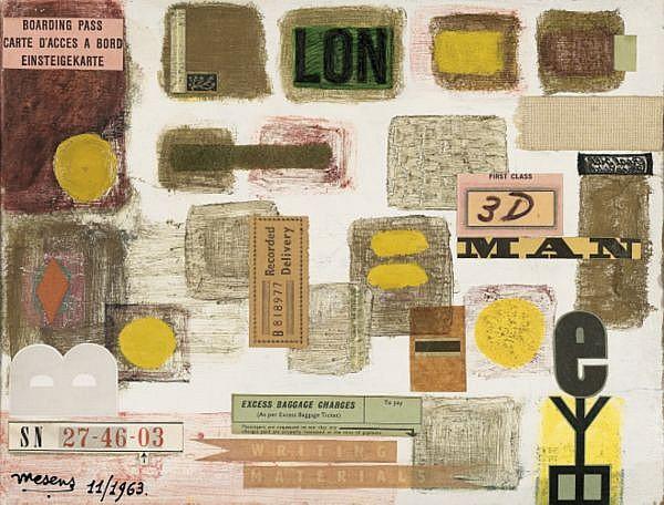E. L. T. Mesens 1903-1971 , WRITING MATERIALS collage et huile sur carton