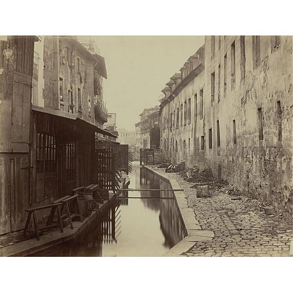 Charles Marville , 1816-circa 1879 'paris: la bièvre entre les rues pascal et cochin'