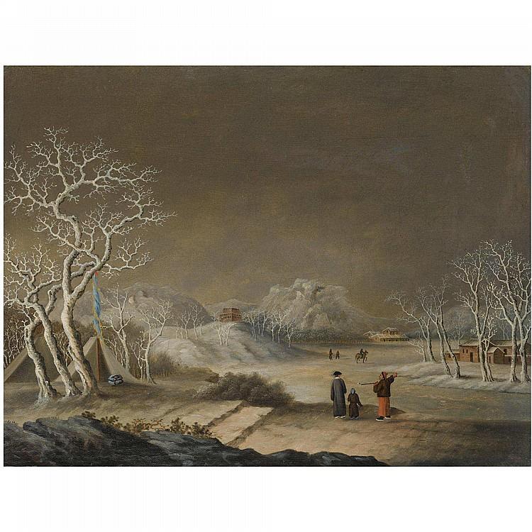 FATQUA (ACTIVE 1805-1835), DATED 1824  A WINTER SCENE