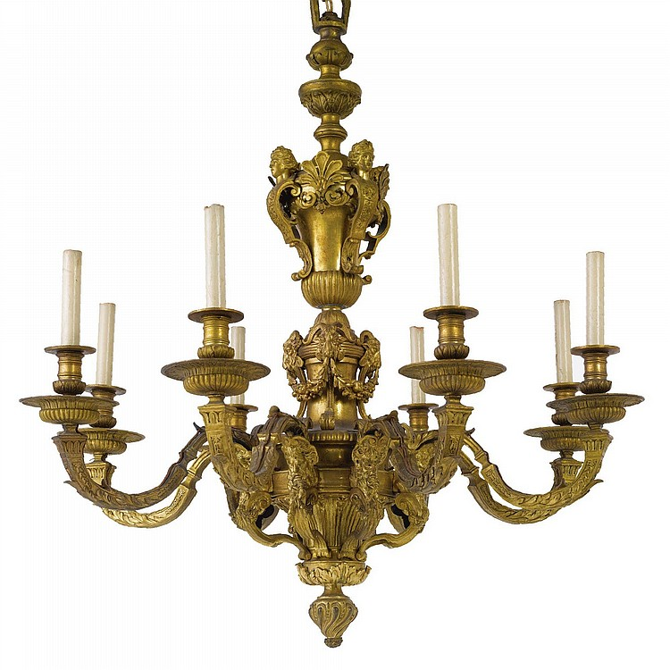 A LOUIS XIV STYLE ORMOLU EIGHT-LIGHT CHANDELIER, AFTER A MODEL BY ANDRÉ-CHARLES BOULLE (1642-1732) CIRCA 1900