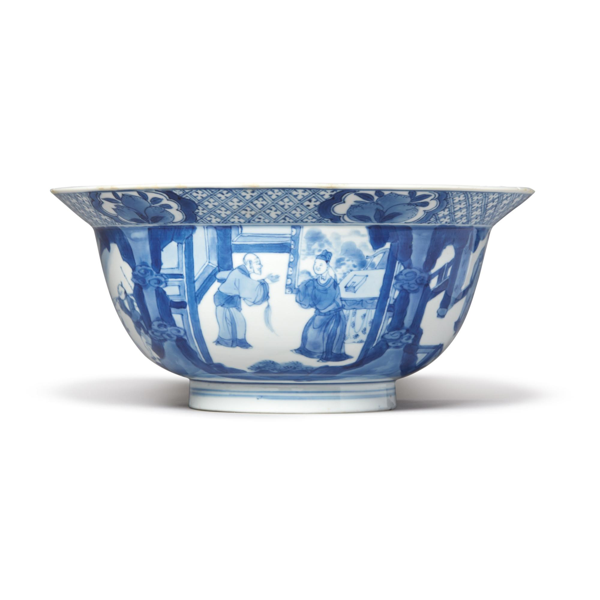 A BLUE AND WHITE 'FIGURAL' BOWL, QING DYNASTY, KANGXI PERIOD