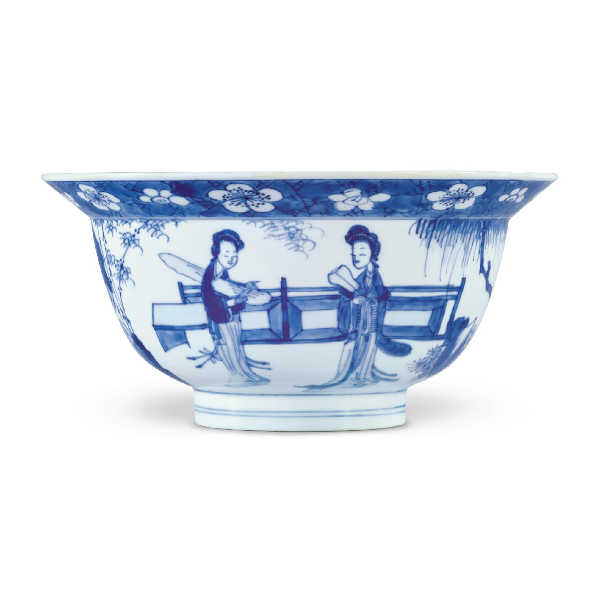 A BLUE AND WHITE 'LADIES AND BOYS' BOWL, QING DYNASTY, KANGXI PERIOD