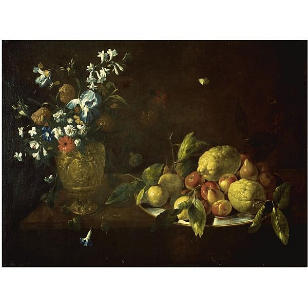Giovanni Stanchi , Rome 1608 - after 1673 Still life with fruit piled high on a plate beside a bronze urn filled with flowers oil on canvas