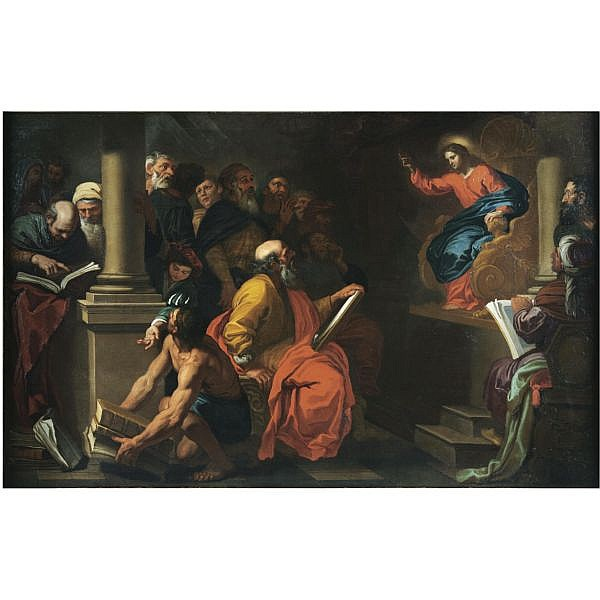 Giovanni Battista Merano , Genoa 1632 - 1698 Piacenza Christ among the doctors oil on canvas