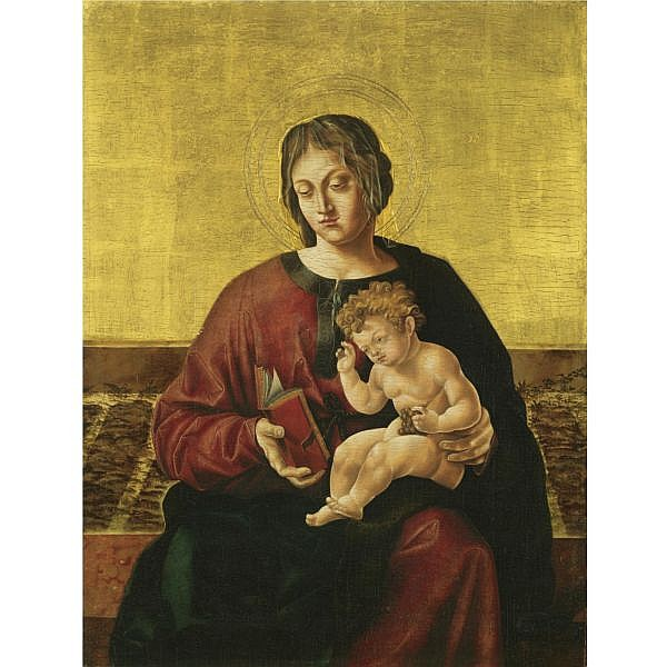 Jörg Breu the Elder , Augsburg circa 1475/80 - 1537 The Virgin And Child seated in a garden   oil on panel, gold ground