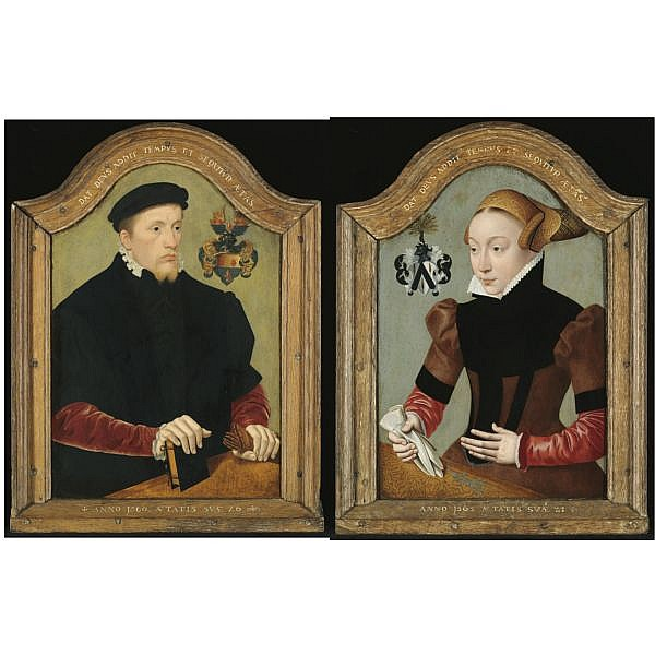 Bartholomäus Bruyn the Younger , Cologne circa 1530 - 1607/10 Portrait of Nicolaus von Gail (1534-1598), bust-length, aged 26, wearing a black doublet with red sleeves and holding a book and a pair of gloves; Portrait of Sophie von Wedigh (1544-date