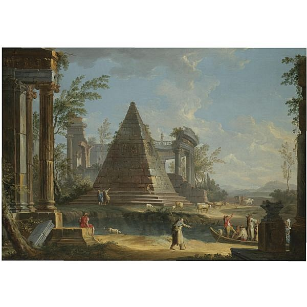 Giuseppe Zocchi , Florence 1716/17 - 1767 An architectural capriccio with figures being ferried between ancient ruins, an extensive landscape beyond oil on canvas