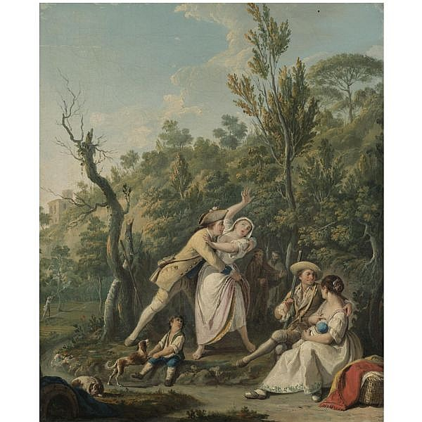 - Pietro Fabris , Documented in Naples 1756 - 1804 A wooded landscape with a woman resisting the advances of a soldier, an amorous couple beside them oil on canvas