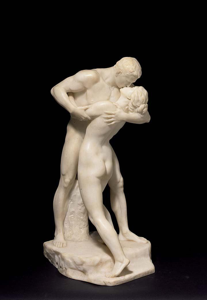 A WHITE MARBLE GROUP OF 'DER KUSS', GERMAN, FERDINAND LEPCKE, 1866-1909