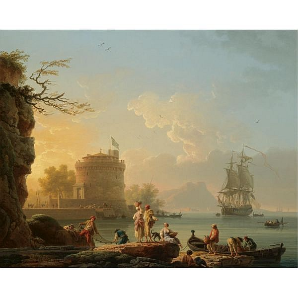 Claude-Joseph Vernet Avignon 1714 - 1789 Paris , A mediterranean harbour scene at sunset, with fishermen unloading their catch before a round fortress, a man-of-war at anchor beyond oil on canvas