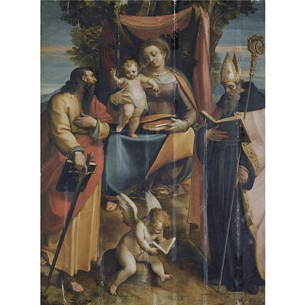Luca Cambiaso Moneglia 1527 - 1585 Madrid , A 'Sacra Conversazione': the Madonna and Child with Saints Paul and Augustine, a putto reading at their feet oil on panel