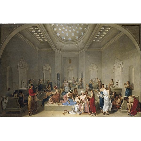 Jean-Jacques-François Lebarbier Rouen 1738 - 1826 Paris , A Female Turkish Bath or HAMMAM oil on canvas, in a period carved and plaster-gilt neo-classical frame