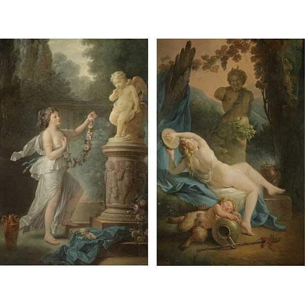 Antoine-François Callet Paris 1741 - 1823 , A bacchante playing the tambourine before a statue of Pan, a drunk young satyr asleep in the foreground; A young lady offering a garland of flowers to a statue of Cupid both oil on canvas