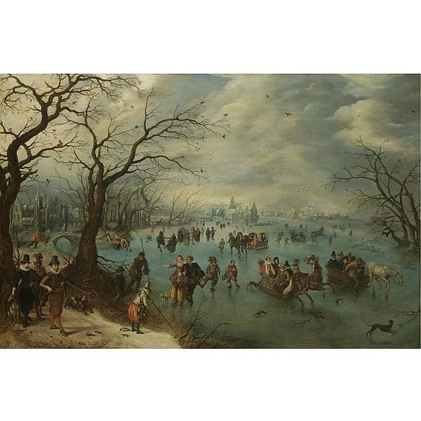 Adriaen Pietersz. van de Venne Delft 1589 - 1662 The Hague , A Winter Landscape with Figures Skating on a Frozen River, Prince Maurits of Orange-Nassau with a Hunting Party in the Foreground oil on oak panel
