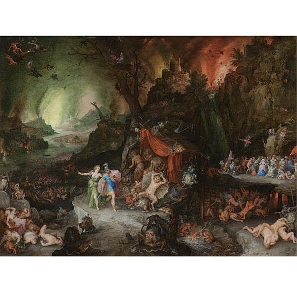 Jan Brueghel the Elder Brussels 1568 - 1625 Antwerp , Aeneas and the sibyl in the underworld oil on copper