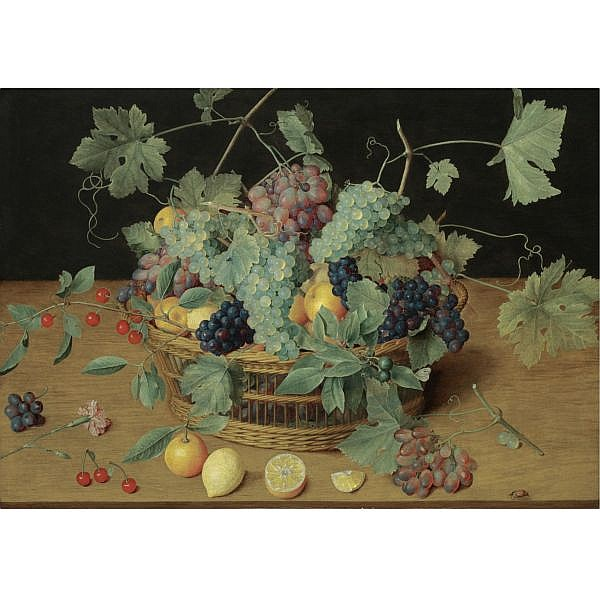 Isaak Soreau Frankfurt-am-Main 1604 - in or after 1645 , A still life with fruit in a basket, including bunches of grapes and lemons, cherries and oranges on the wooden table beneath oil on oak panel
