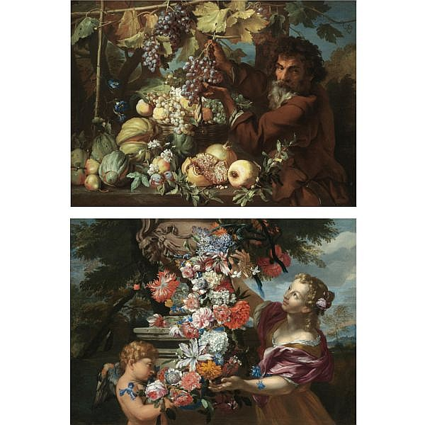 Abraham Brueghel Antwerp 1631 - 1697 Naples , A still life with a girl and putto adorning a sculpted urn with a garland of flowers (Spring); A still life of pomegranates, melons, pears, plums and morning glory, with a gardener picking grapes from a