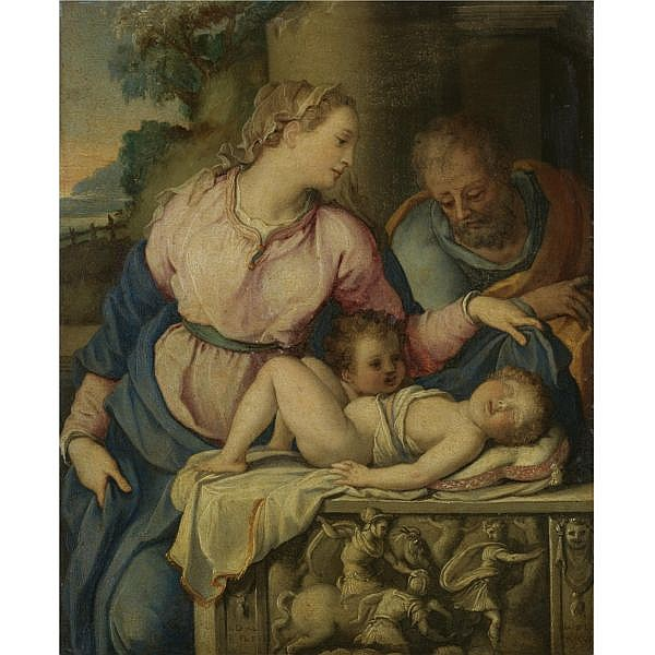 Alessandro Allori Florence 1535 - 1607 , The holy family with the Infant Saint John the Baptist oil on copper, in a fine carved and gilt wood frame