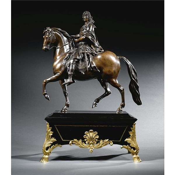 - A bronze Equestrian group of Louis XIV, after a model by Martin van den Bogaert, called Desjardins (1637-1694),   Brownish green patina with traces of black lacquer