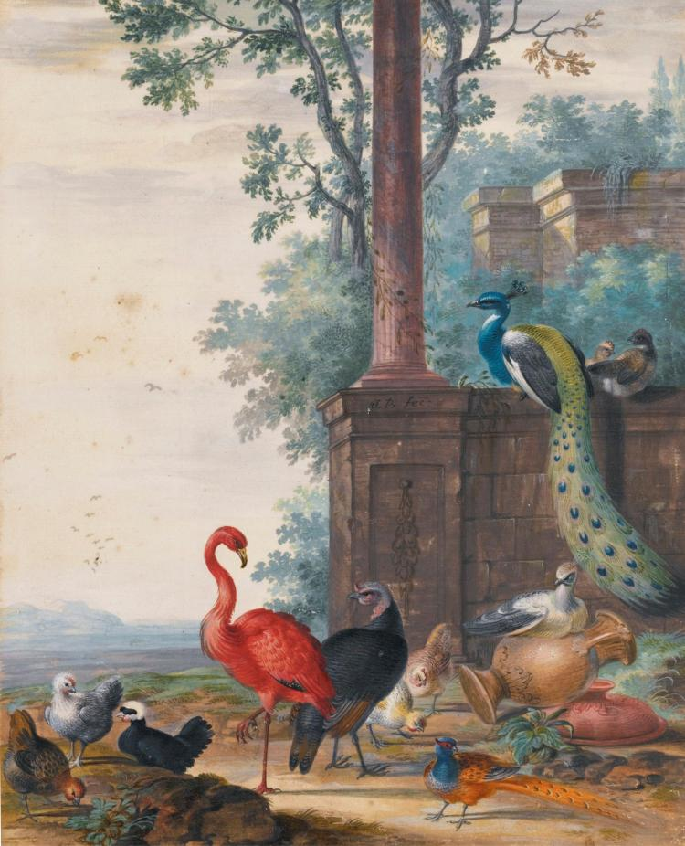 JOHANNES BRONCKHORST | An Italianate landscape with a peacock, pheasant, flamingo and other fowl