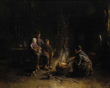 JOZEF ISRAELS DUTCH, 1824-1911 PANCAKE DAY signed Jozef Israels (lower right) oil on canvas 63 by 74...
