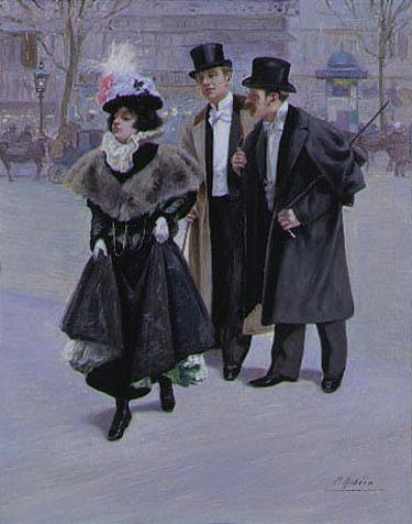PIERRE RIBERA FRENCH, 1867-1932 ALONG THE GRAND BOULEVARDS AT 6 PM AND 6 AM: A PAIR each signed P. R...