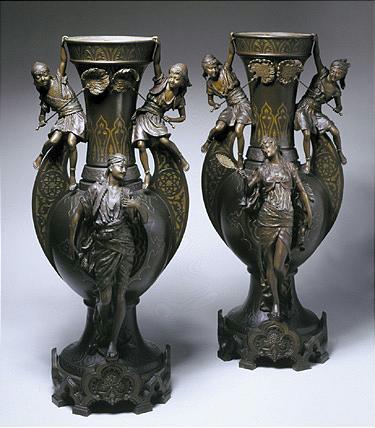 *LOUIS HOTTOT FRENCH, 1834-1905 PAIR OF ORIENTALIST VASES inscribed L. Hottot metal and polychrome h...