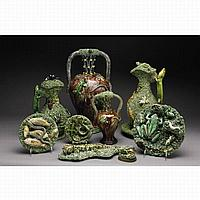 TWO PORTUGUESE 'PALISSY' TYPE URNS, MANUEL CIPRIANO GOMES MAFRA, THIRD QUARTER 19TH CENTURY