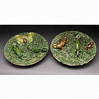 TWO SIMILAR PORTUGUESE 'PALISSY' TYPE PLATTERS, MANUEL CIPRIANO GOMES MAFRA, CIRCA 1880