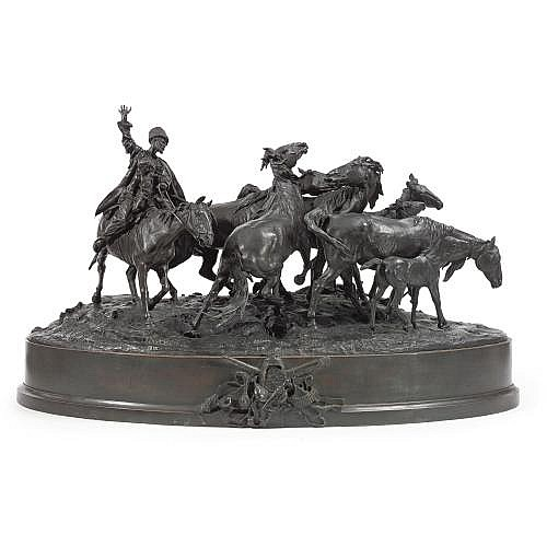 evgeni lanceray (1848-86), a bronze group: herding horses
