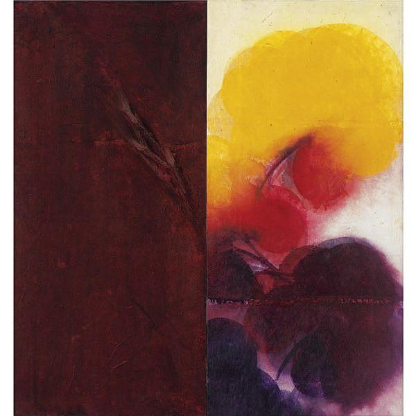 - Davide Benati , n. 1949 Zafferano olio, cartapesta e acquerello su tela