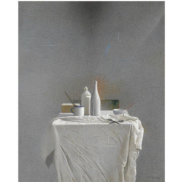 - Gianfranco Ferroni , 1927 - 2001 Natura morta con panneggio   tempera e matite colorate su tavola