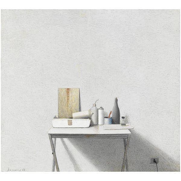 - Gianfranco Ferroni , 1927 - 2001 Piccola natura morta tempera e matite colorate su cartoncino applicato su tavola