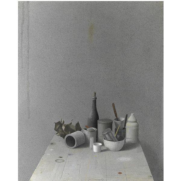 - Gianfranco Ferroni , 1927 - 2001 Grande natura morta tecnica mista su carta applicata su tavola
