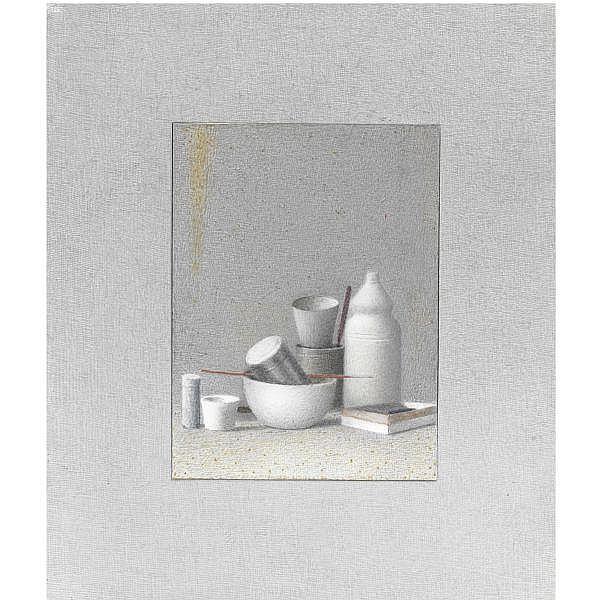 - Gianfranco Ferroni , 1927 - 2001 Oggetti matita e tempera su cartoncino applicato su tavola entro passepartout realizzato dall'artista