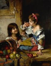 ALEXEI ALEXEEVICH HARLAMOFF | Two Girls with Apples and Pears