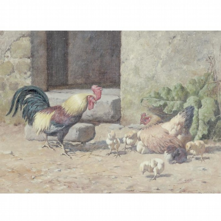 WILLIAM BAPTISTE BAIRD 1847 - 1899 CHICKENS AND ROOSTER