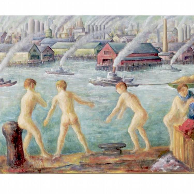PAUL MELTSNER 1905-1966 BOYS BATHING IN THE HARBOR
