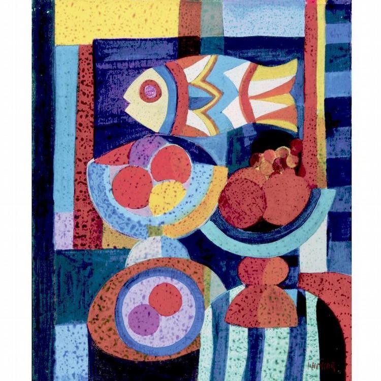 SIMON AVISSAR B. 1938 STILL LIFE WITH FISH AND FRUIT