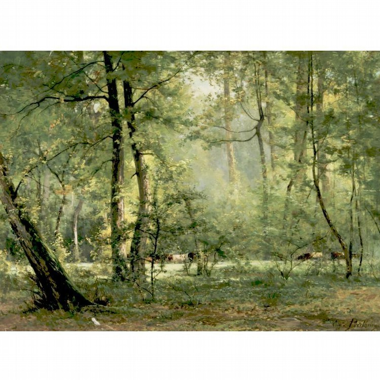 EUGÈNE BERTHELON 1829-1914 COWS IN A WOODLAND GLADE