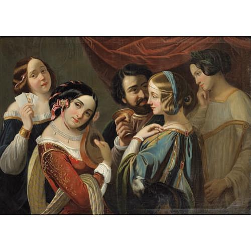Entourage d' Eugène-François-Marie-Joseph Devéria Paris 1808 - 1865 Pau , Interlude musical