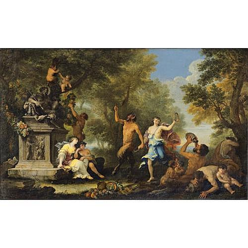 Filippo Lauri Rome 1623 - 1694 , Bacchanale avec offrande à la statue du dieu Pan