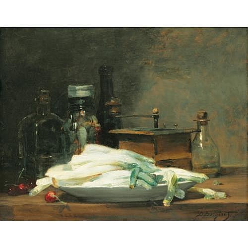 Denis-Pierre Bergeret Villeparisis 1846 - 1910 Paris , Le plat d'asperges