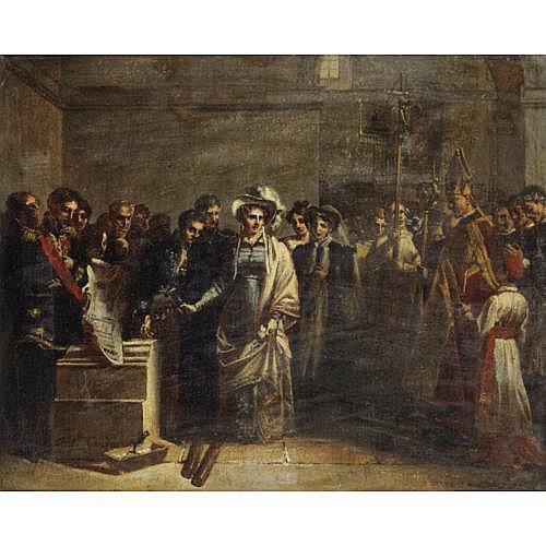 Louis-Charles Auguste Couder Paris 1790 - 1873 Paris , La duchesse d'Angoulême posant la première pierre du monument élevé aux victimes de Quiberon