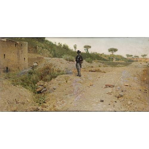 Giuseppe Laezza Mort à Naples en 1905, école italienne , Jeune homme sur un chemin
